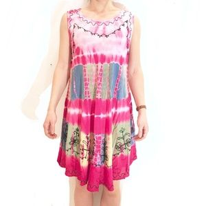 Tie-Dyed Embroidered Pink Rainbow High-Low Dress
